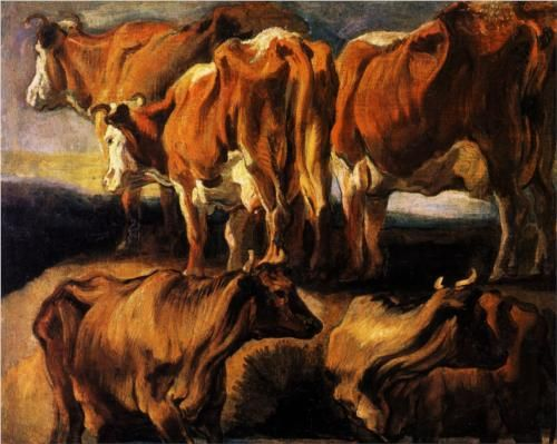 Five studies of cows - Jacob Jordaens, 1624 (Musee des Beaux-Arts, Lille, France), Wikipaintings