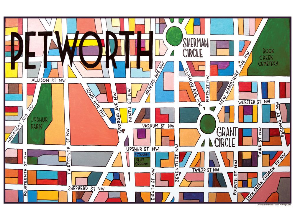 Petworth Dc Map.Map Print For Petworth Neighborhood Dc Torie Partridge Cherry