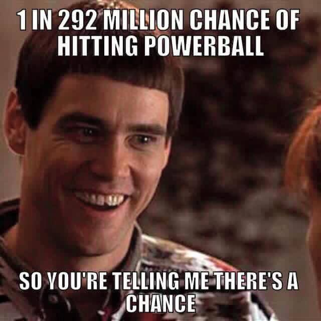 1 in 292 Million Chance of Hitting Powerball...So You're Telling Me There's a Chance