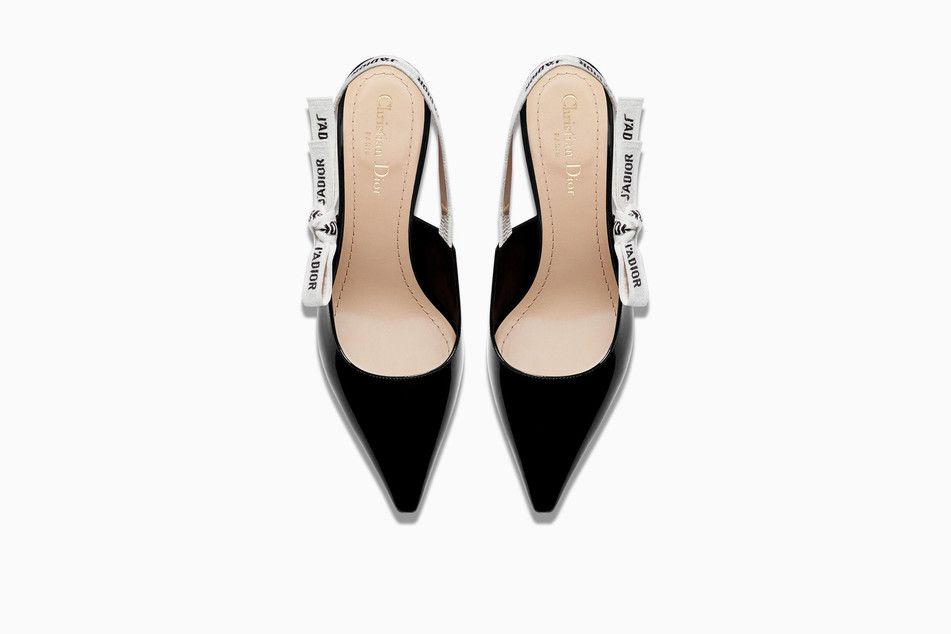 092c7246cdf Slingback in black patent calfskin leather and j'adior ribbon 6,5 cm ...