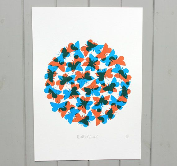 Butterflies Screen print by WorkOnPaperStudio on Etsy