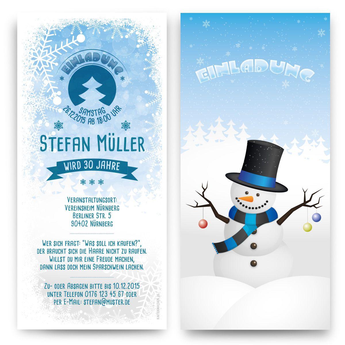 Einladungskarten Im Schneemann Motiv Individuell Bedruckt Mit Eigenem Text  Einfach Versandkostenfrei Online Bestellen!