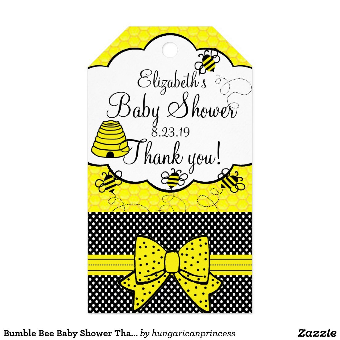 Bumble Bee Baby Shower Thank You Gift Tags