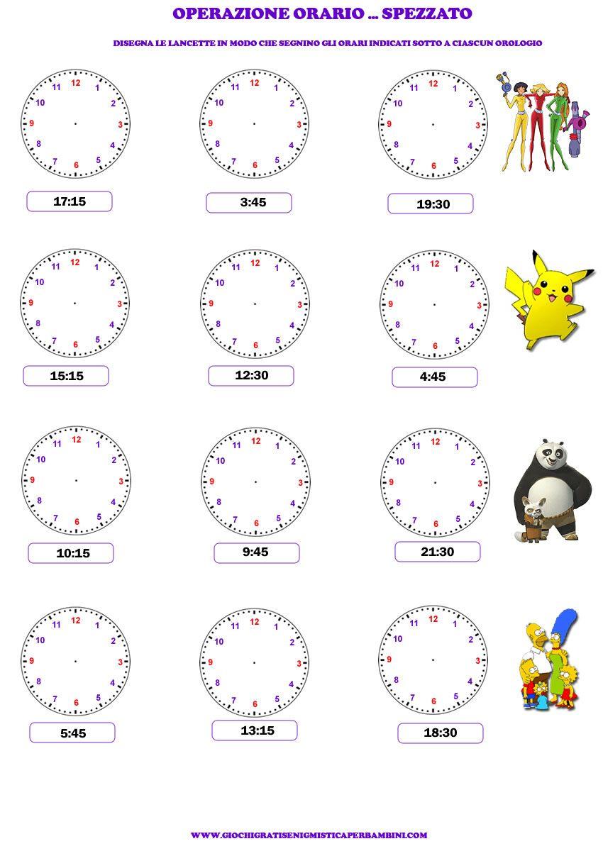Très Schede didattiche per imparare a leggere l'ora | attivita  NH92