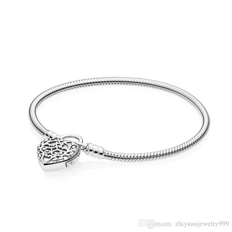 c51056b9a45 Most Popular Moments Smooth Silver Padlock Bracelet Regal Heart Pandora 1:1  Come With Original Packaging Bead Bracelets Silver Bangles From ...