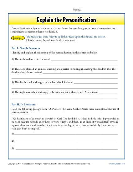 Explain the Personification | Free printable worksheets, Printable ...