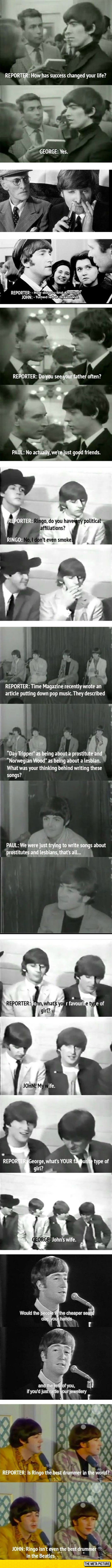 The Beatles were amazing at interviews