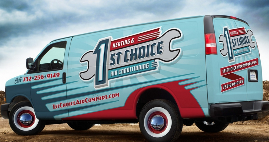 Retro van wrap for a heating and air conditioning company