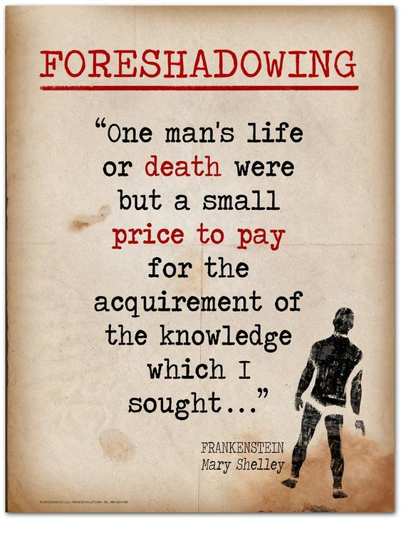 Frankenstein Foreshadowing Quote Educational Art Print Featuring