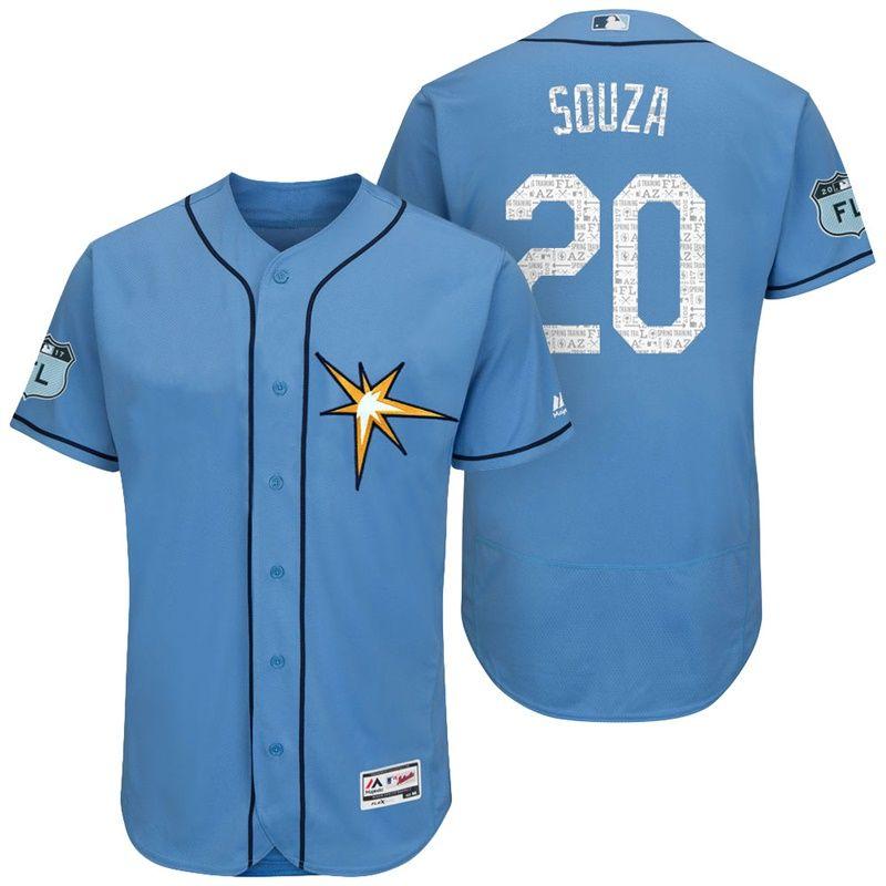 Men's Tampa Bay Rays #20 Steven Souza Light Blue 2017 Spring Training Stitched MLB Majestic Flex Base Jersey