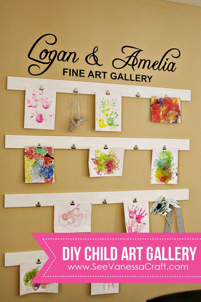 diy tutorial child art gallery wall for the home art wall kids kids art galleries art. Black Bedroom Furniture Sets. Home Design Ideas