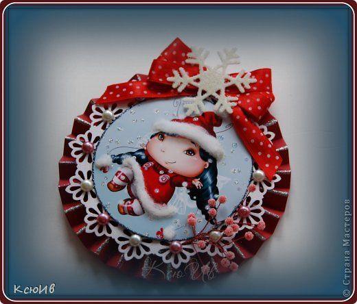 Мастер-класс Открытка Скрапбукинг Новый год Рождество Новогодняя открытка + МК Бумага Бусины Ленты фото 1