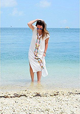 Jeasona Women's V-Neck Embroidered Maxi Long Beach Dress Swimsuit Cover Up White One Size at Amazon Women's Clothing store: