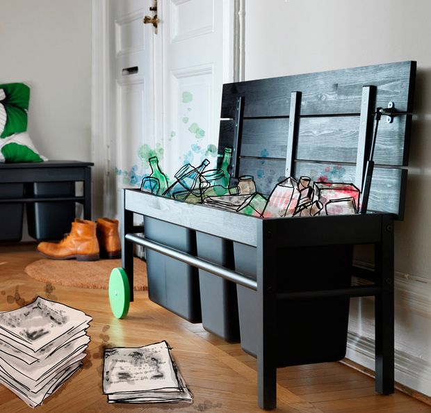 Banco para cubos de reciclaje, de Ikea | ╚(•⌂•)╝ Casa+ideas ...