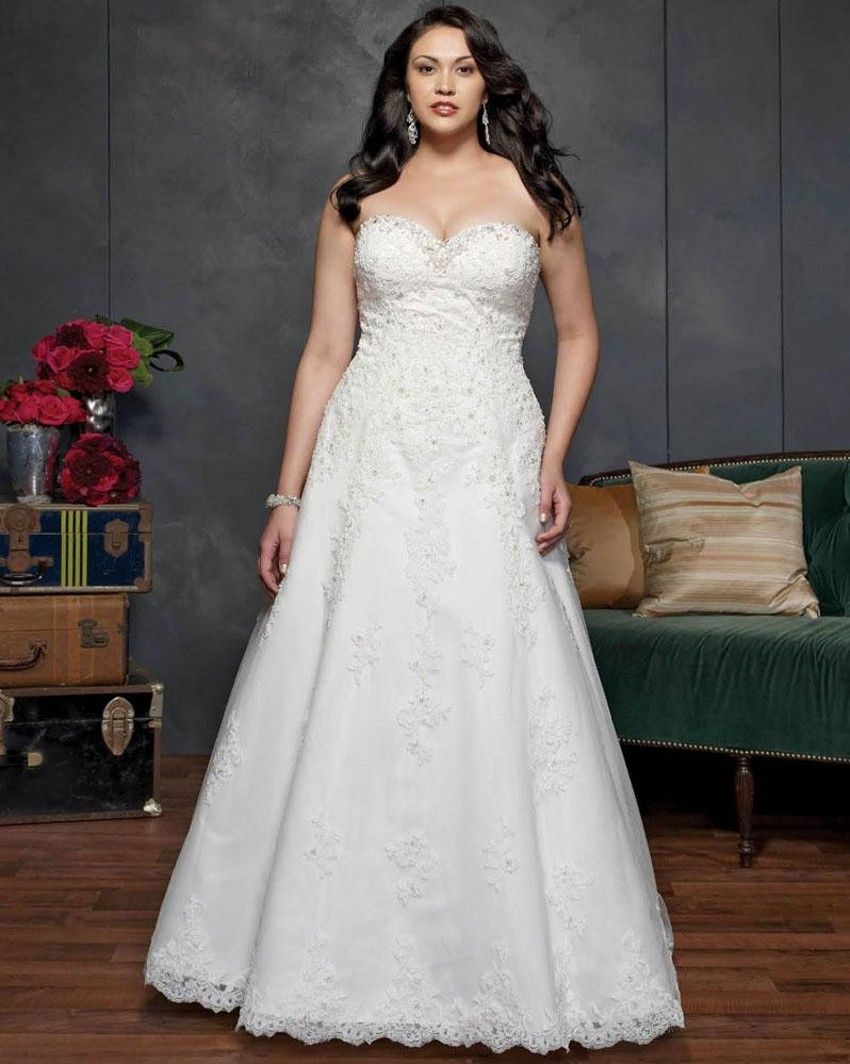 Lace wedding dress with train  Plus Size Wedding Dresses Detachable Straps Sweetheart Court Train