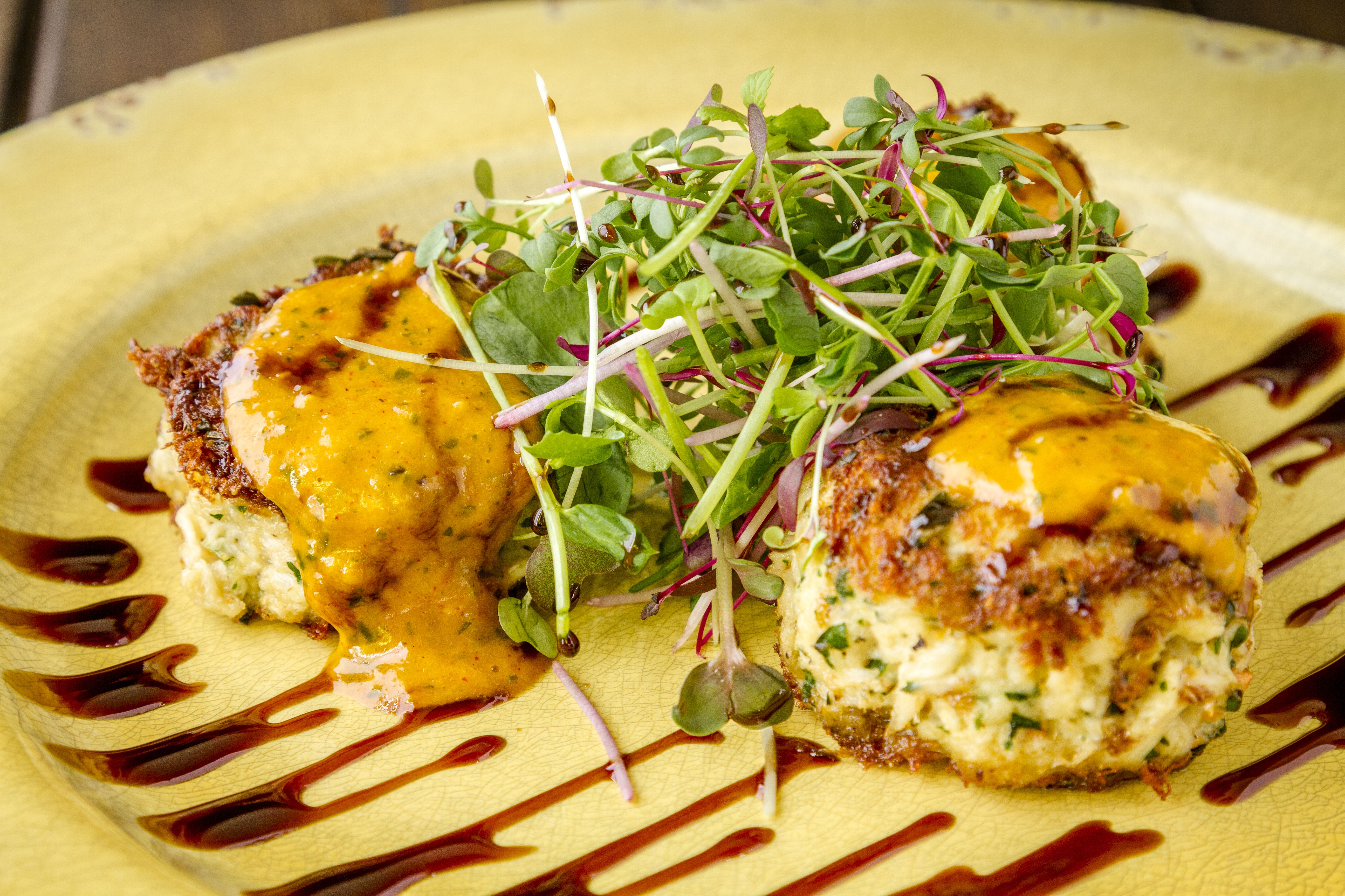 Blue Crab Cakes with Balsamic Glaze and A&S Microgreens. So, so good! #asmicrogreens #microgreens #nutrients  #market #petlovers #furryfriends #cats #dogs #veterinarians #petsitters #rabbits #turtles #hamsters #eatlocal #livefood #organicfood #freshproduce #localfood #eatfresh #healthyfood #nutrients #nutrition #cowichanvalley #victoria #nanaimo #ladysmith #millbay #cobblehill #duncan #chemainus