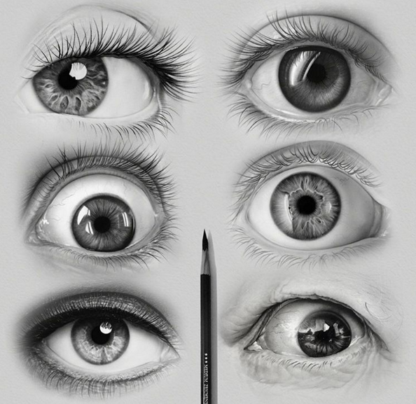 how to draw realistic eyes with one pencil