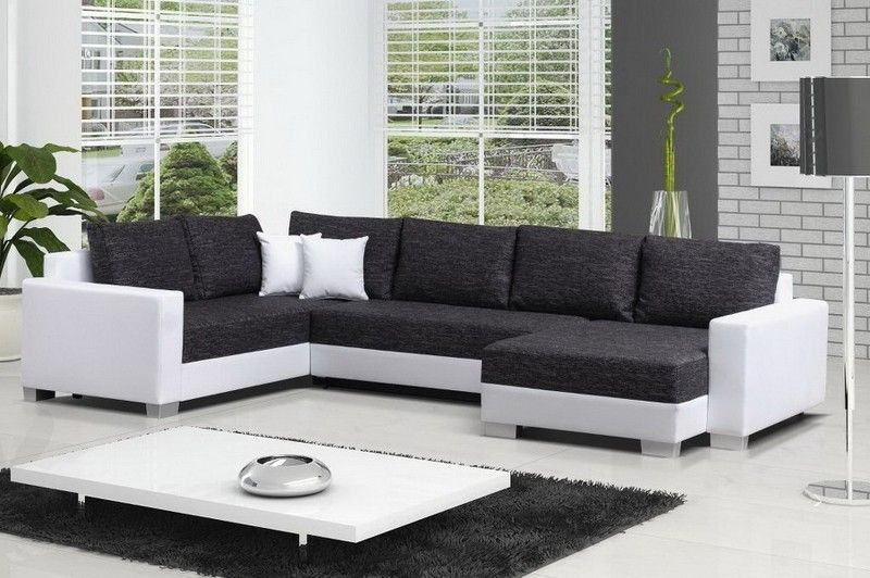 canap angle droit convertible tissu chin gris anthracite et blanc cuir synthtique - Canape Angle Convertible Tissu