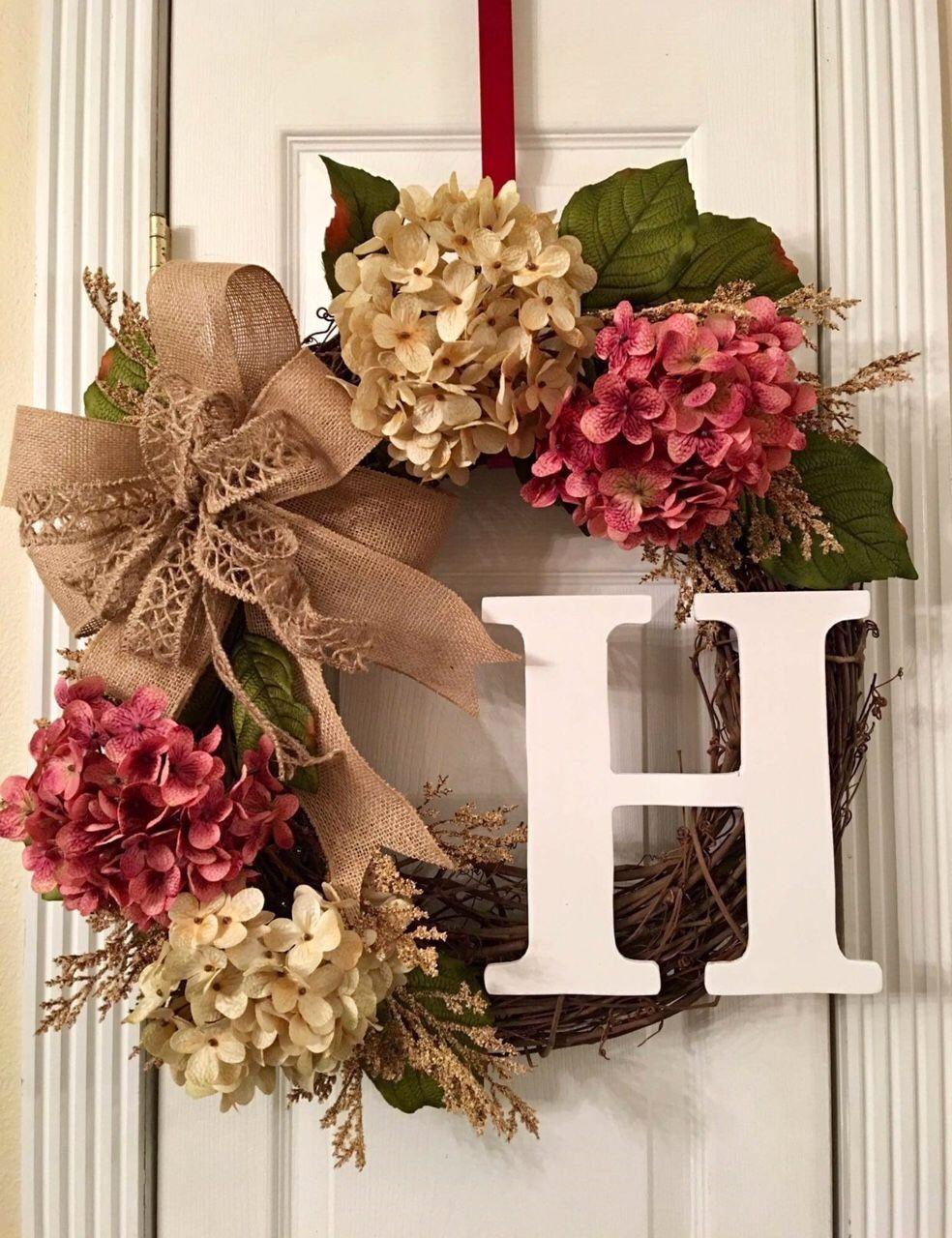 Personalized Wreath Monogrammed Wreath Grapevine Hydrangea Wreath Front Door Wreath Wedding Gift Idea Everyday Farmhouse Decor Monogram Door Wreath Initial Door Wreaths Personalized Wreaths