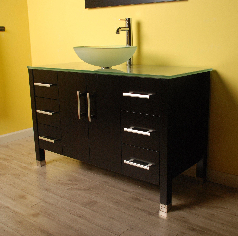 48 Inch Wood Glass Single Vessel Sink Bathroom Vanity Set
