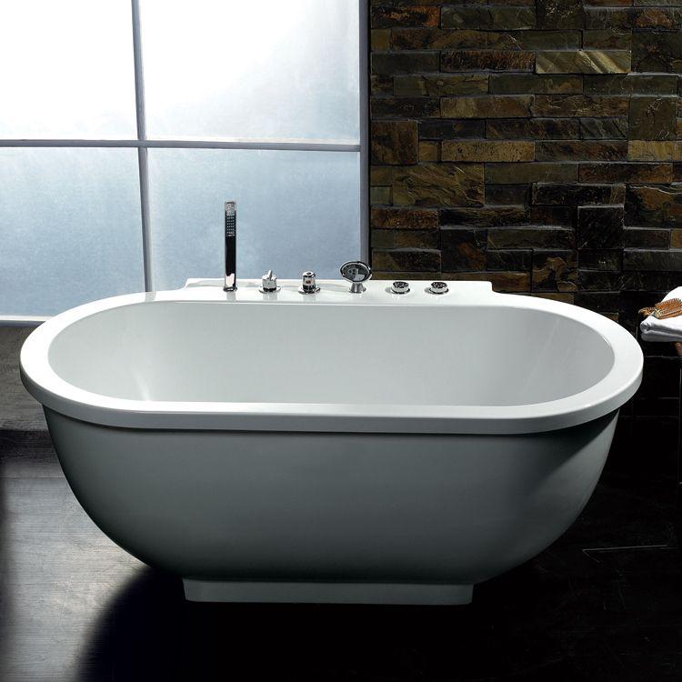 Ariel Bath AM128 Platinum Whirlpool Tub Soaking Bathtub, White ...