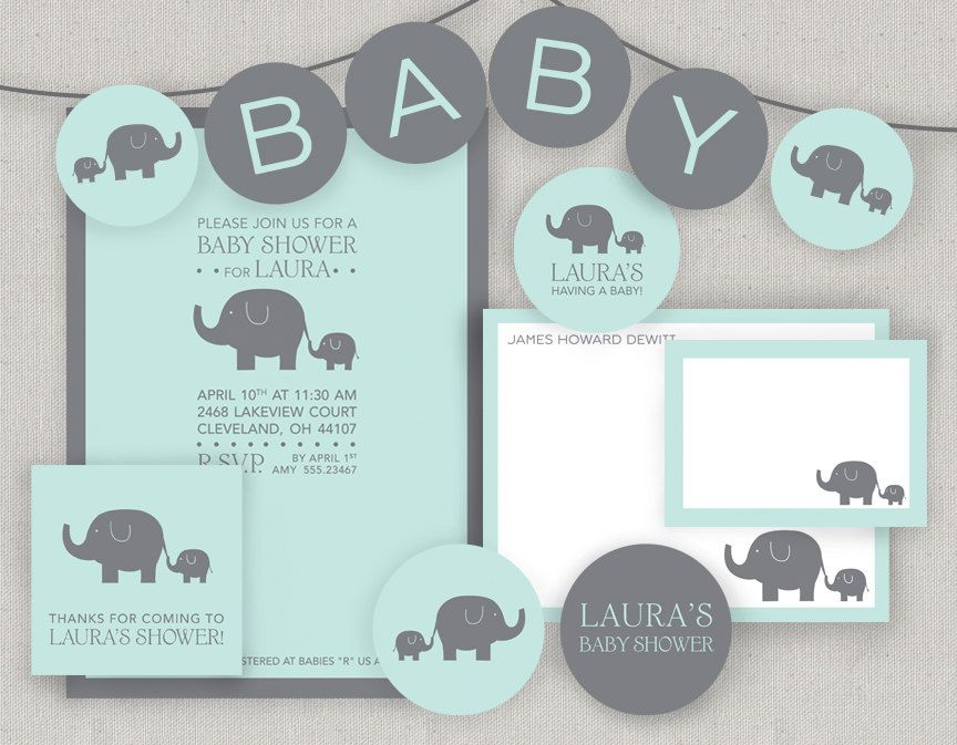 Printable Baby Elephant Baby Shower. $40.00, via Etsy. Comes with ...