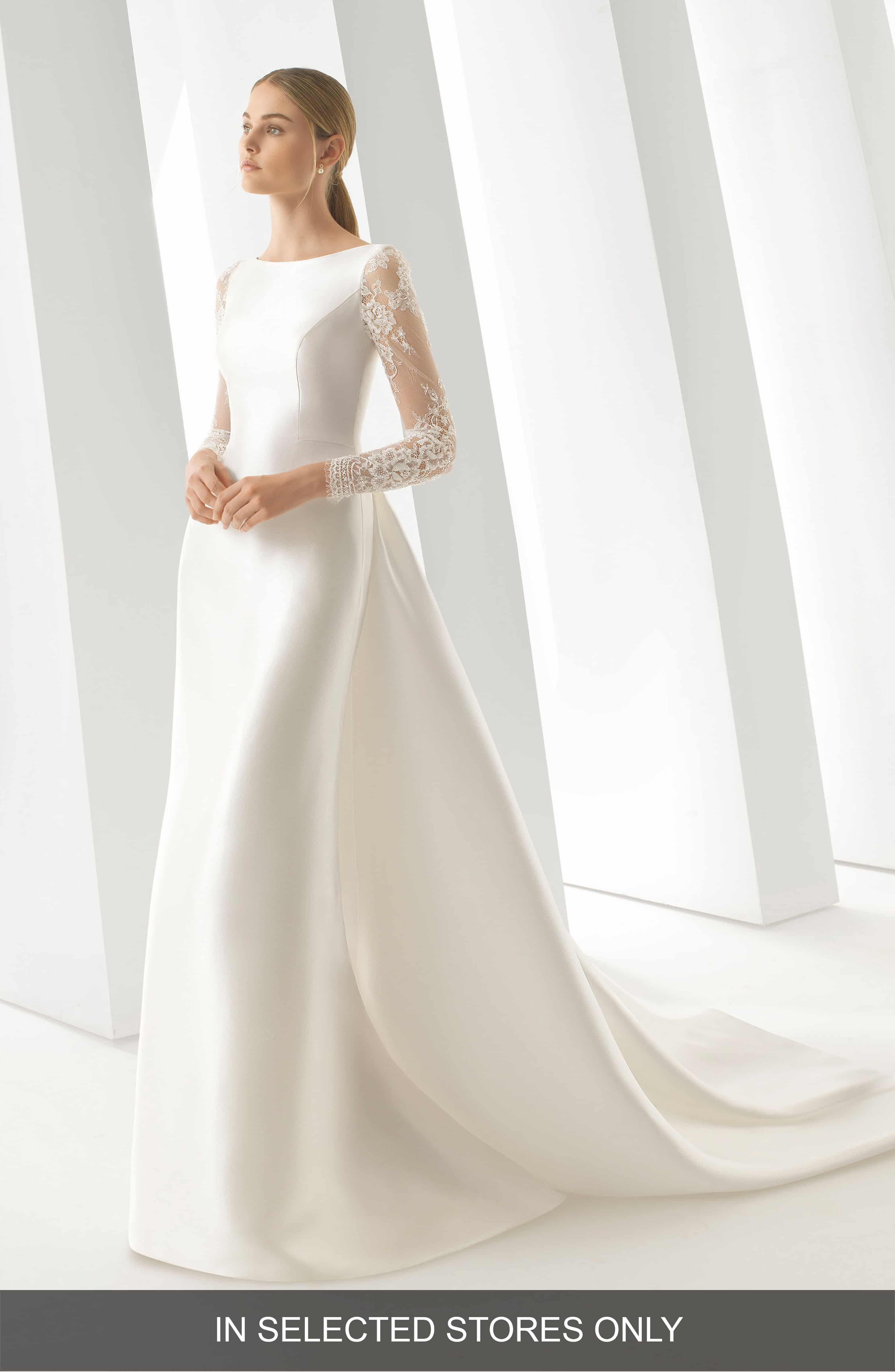 Rosa Clar� Doreen Column Gown With Detachable Train Main Color Natural: Natural Colored Wedding Dress At Websimilar.org