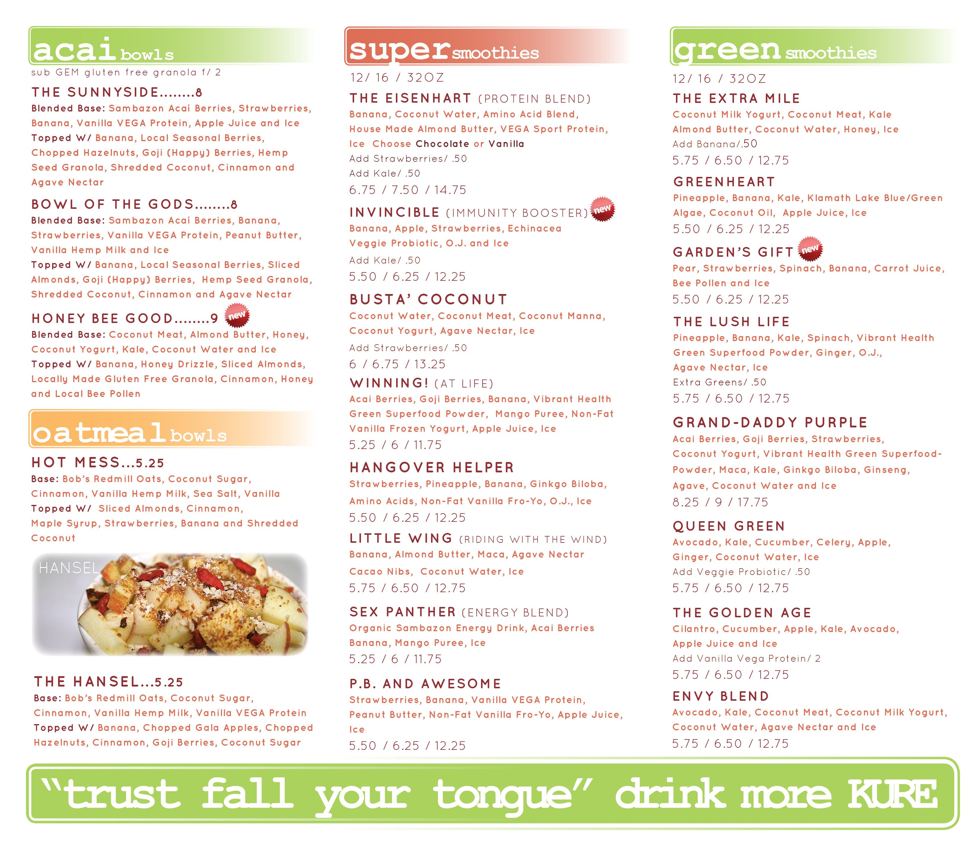Kure juice bar menu juicing recipes juice bar menu