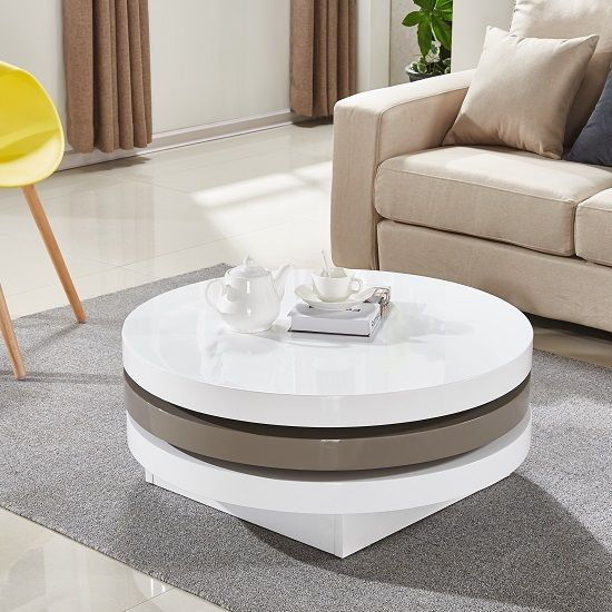 Beau Triplo Rotating Coffee Table Round In White And Stone High Gloss,  Extraordinary Modish Design Perfect For Your Living Room Features: U2022Triplo Rotating  Coffee ...
