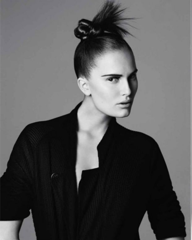 Tight top knot bun for hairstyle from fall London runway shows