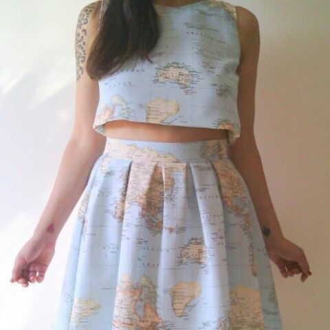 World map crop top and skirt set map dress set vintage inspired cruelcandy shared a new photo on etsy gumiabroncs Image collections