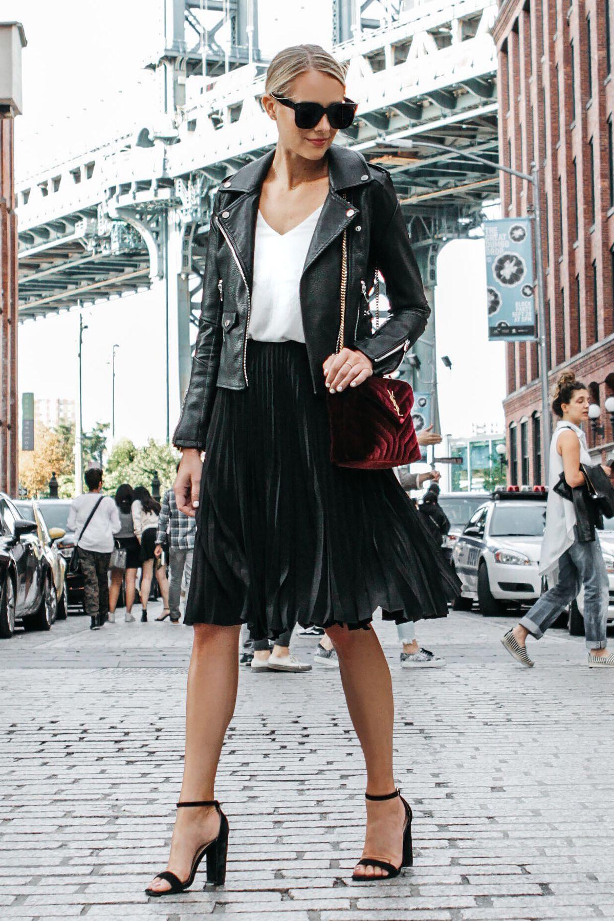 720ec54be913 Blonde Woman Wearing Black Leather Jacket Black Pleated Midi Skirt Saint  Laurent Burgundy Velvet Bag Black Ankle Strap Heeled Sandals Fashion  Jackson Dallas ...