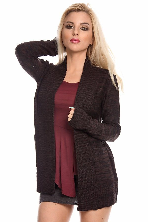 DARK BROWN cardigan#women cardigan#long sleeve cardigan#open front ...