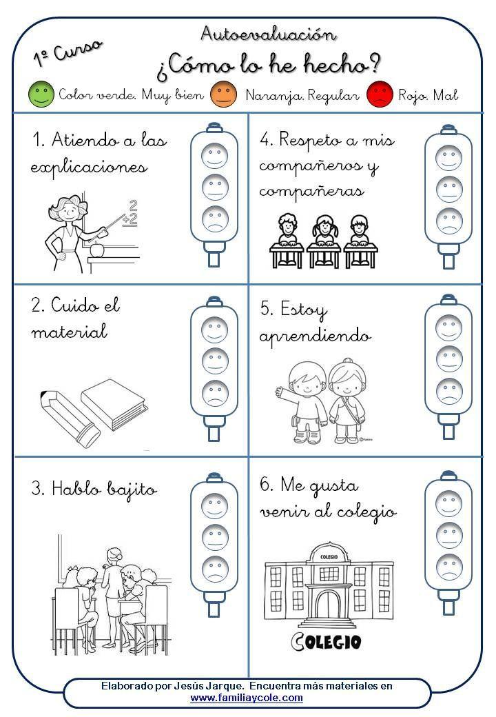 Hoja autoevaluación alumnos. | Educação | Pinterest | Hoja, Hábitos ...