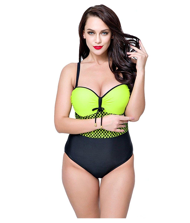 5d914f0773e1a Women's Clothing, Swimsuits & Cover Ups, Bikinis, Sets, Women's Plus Size  Pleated Push up One Piece Swimsuit Swimwear Bikini Set - Yellow -  CO182ZNL5ZI ...