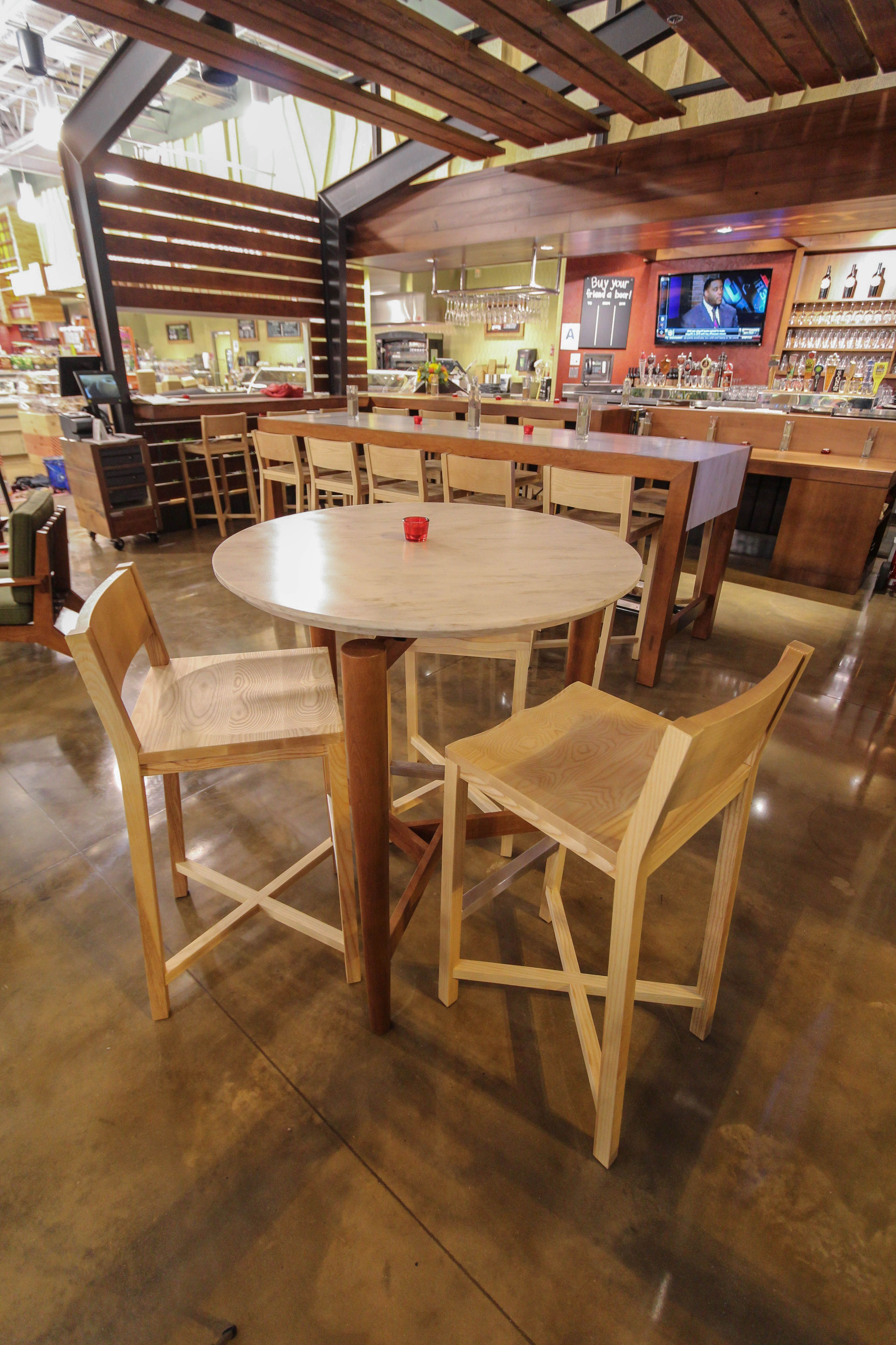 Cherry And Caesar Stone Bar Tables. Fabricated By Nicomia.