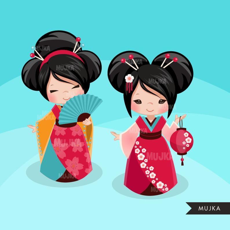 Geisha Japanese Kokeshi Doll Clipart Traditional Kimono Card Making Japanese Girls Kawaii Princess Cherry Blossom Munecas Japonesas Dibujos Japoneses Kokeshi