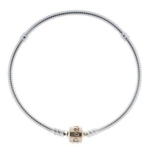 841369a9b10 PANDORA Sterling Silver 7.9 Charm Bracelet with 14k Gold Bead Clasp ...