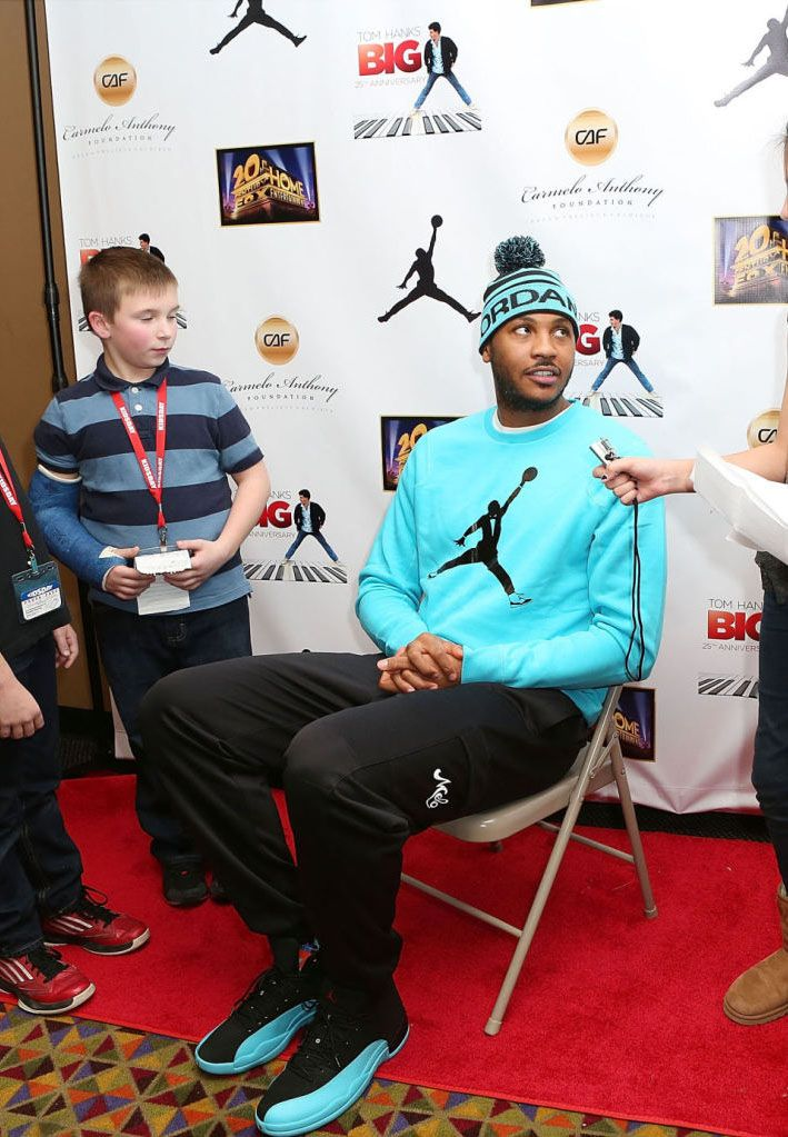 Carmelo Anthony wearing Air Jordan 12 Retro Gamma Blue  e78e22ddc