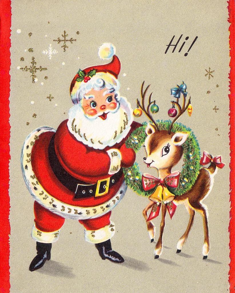 Santa & reindeer retro Christmas card.