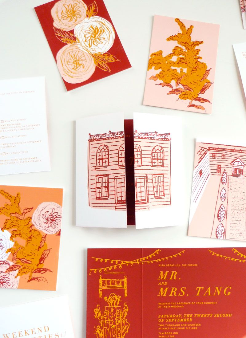 screen printed masterpiece invitation featuring the Elm Rock Inn, NY ...