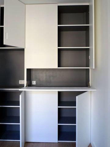 am nager un coin bureau dans un salon bureau pinterest placard sur mesure rangement. Black Bedroom Furniture Sets. Home Design Ideas