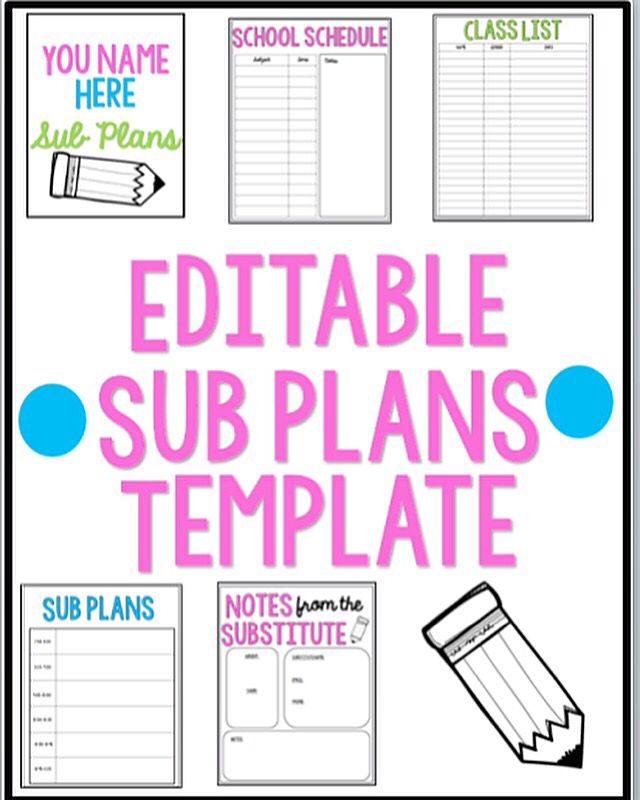 grab these editable sub plan templates in my tpt store