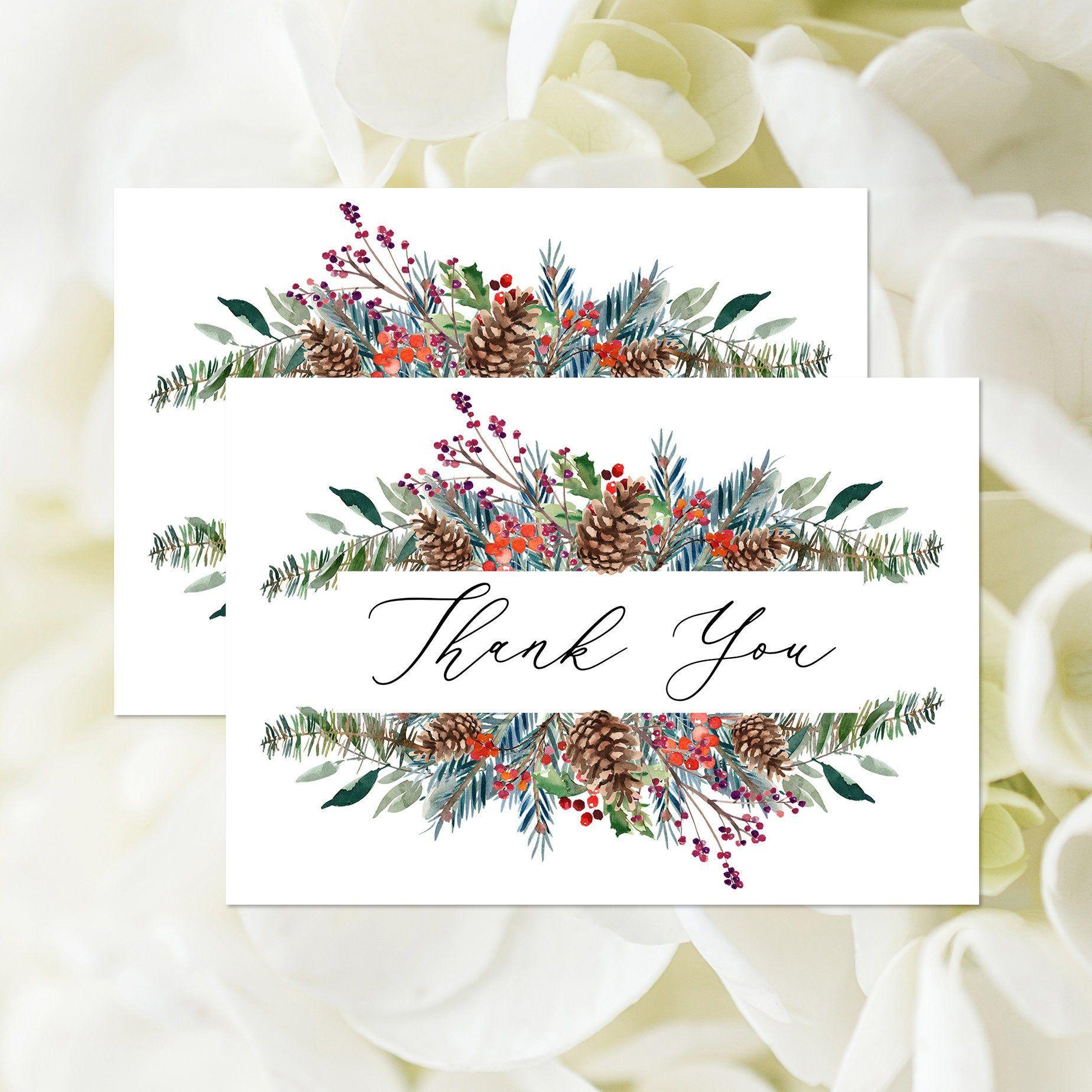 Editable Winter Thank You Card Template, Christmas Bridal