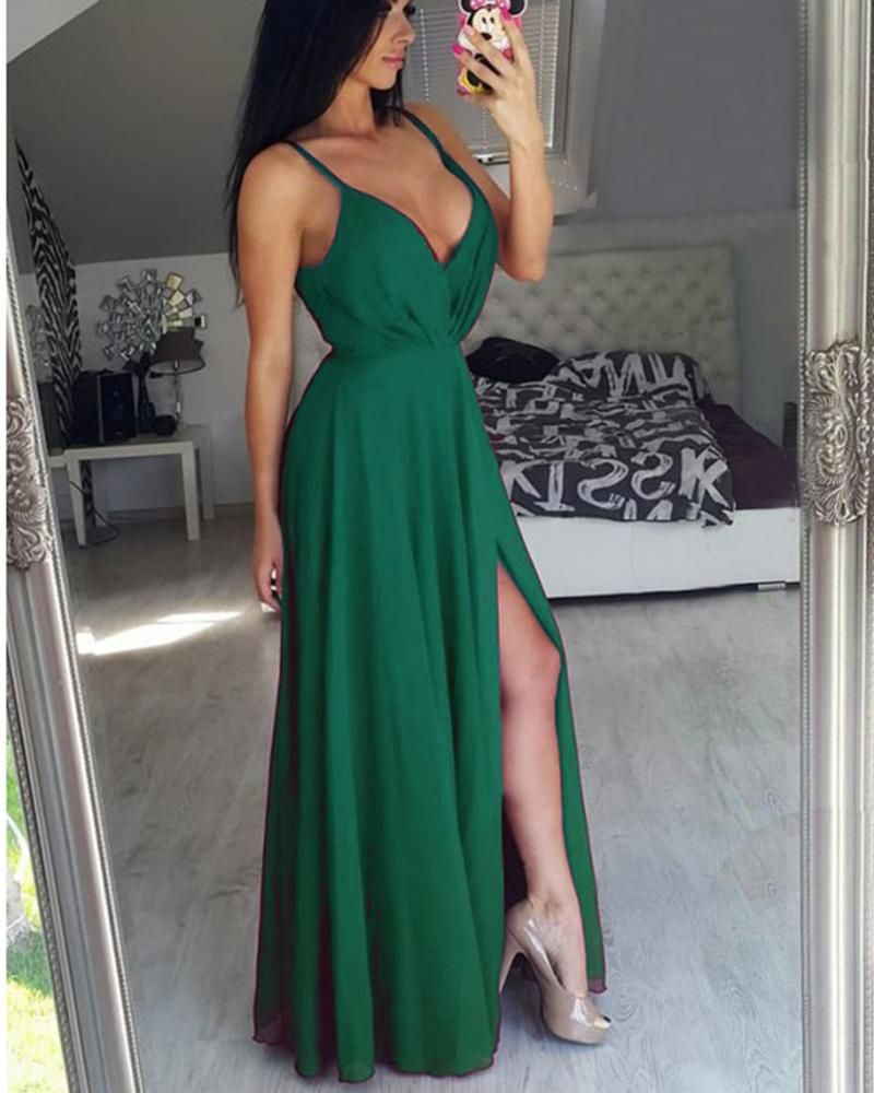 Hunter green prom party dresses with spaghetti straps long evening
