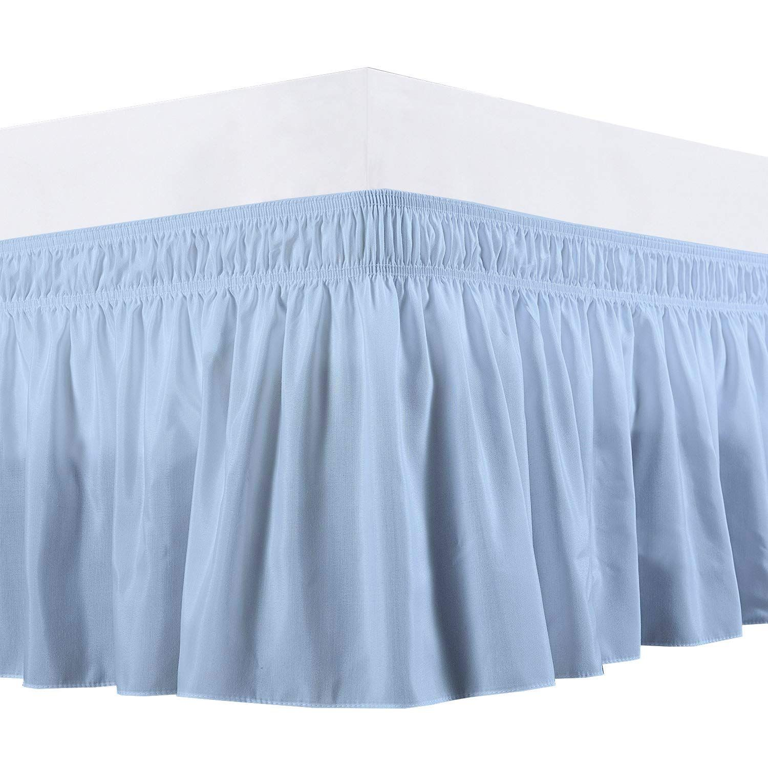 Extra PKT Box Plated Two Tone 1Qty BedSkirt Cotton 1000TC Plain White-Navy Blue