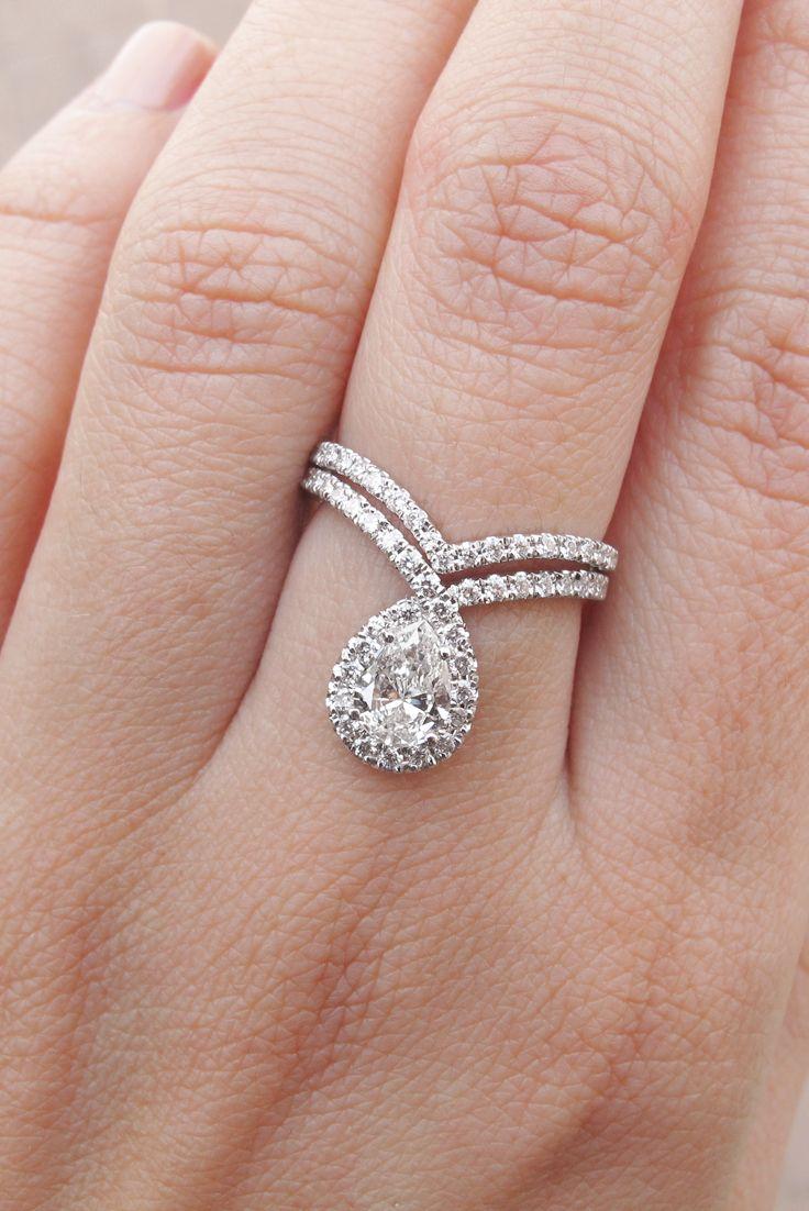 Pear Shape Diamond Ring Wedding Rings Set, With Diamond