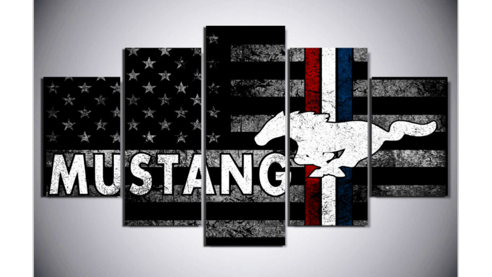 Frame 5 Panel American Flag Ford Mustang Canvas Art Wall Art Picture Home Decor Posters Print Customized Canvas Art Vintage American Flag Canvas Wall Decor