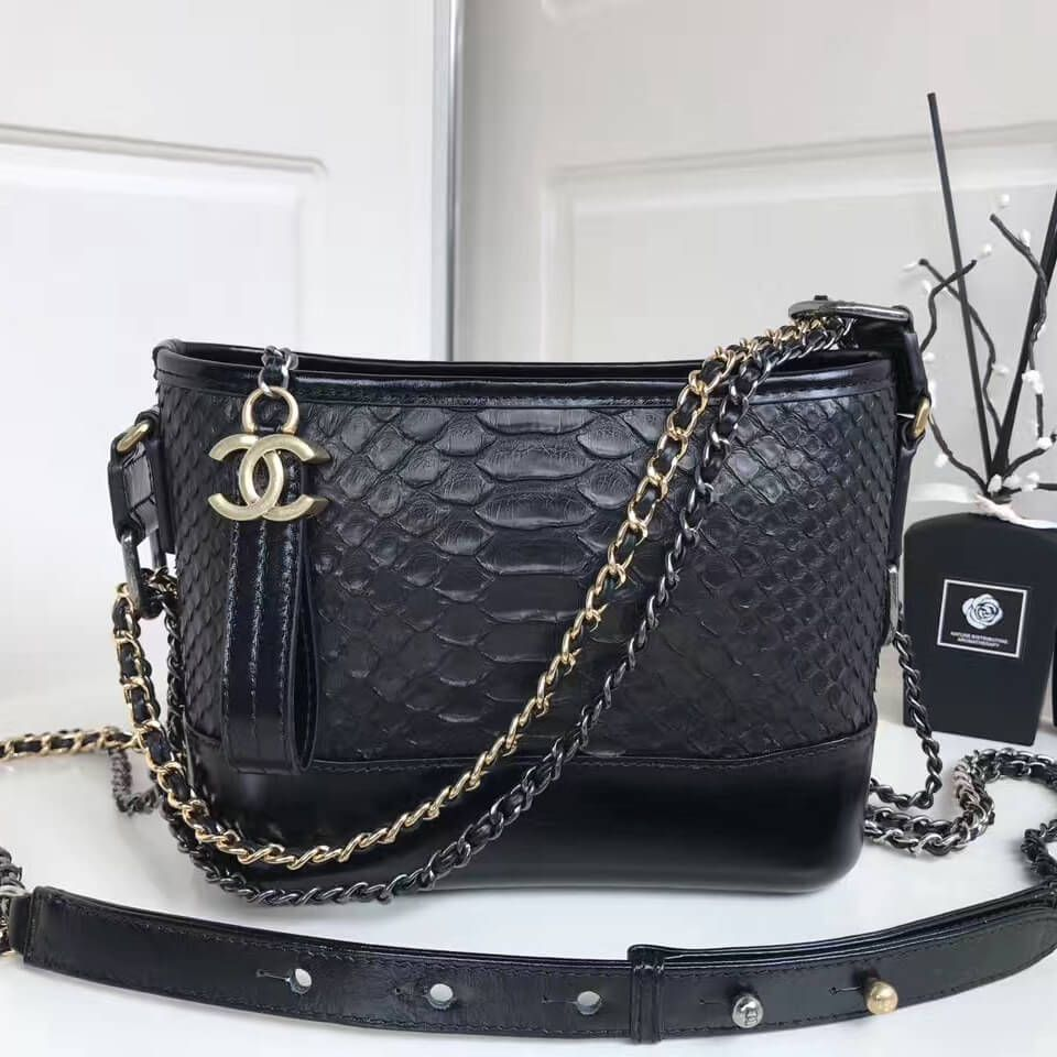 Chanel Gabrielle Small Hobo Bag in Python Leather   Calfskin A91810 Black  2017 c27554e279833
