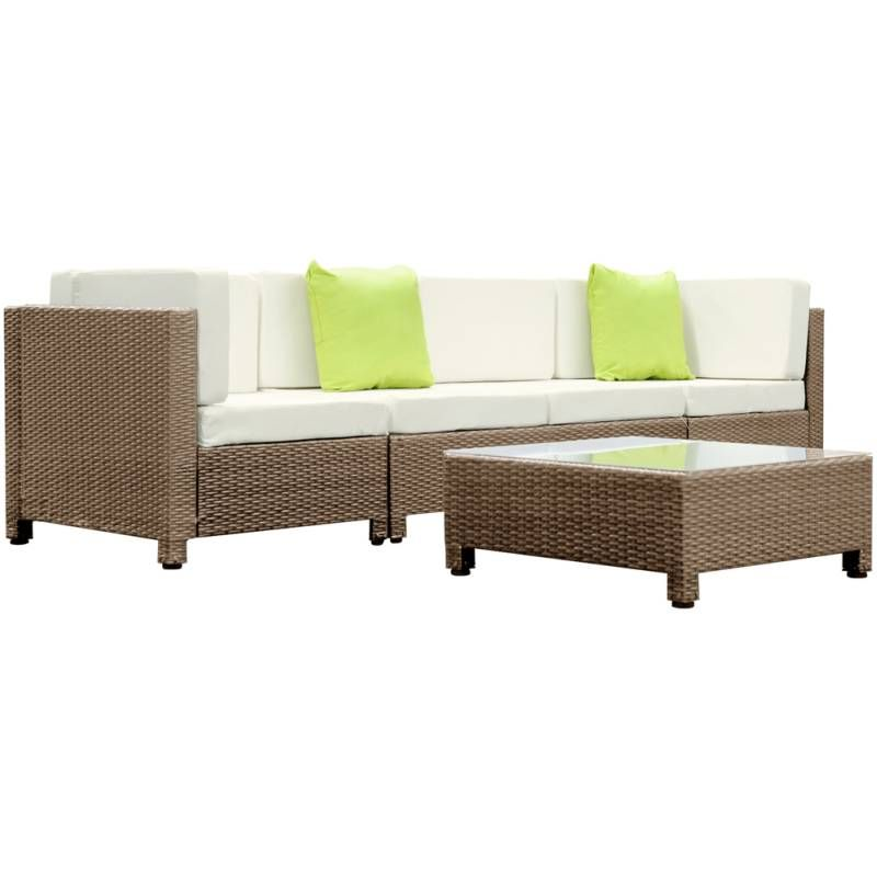 Beige 4 Seat Modular Wicker Outdoor Lounge Set | Buy 30   50% Sale